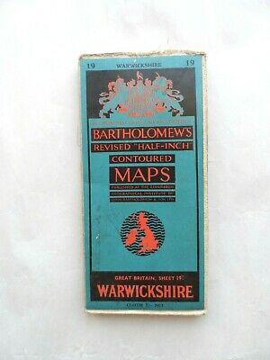 Vintage Bartholomew's Half Inch Contoured Map on Cloth #19 Warwickshire