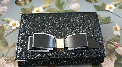 7d01dc3a7fcb BNWT TED BAKER LEONYY Black Leather Mini Flap Bow Purse RRP £55 ...
