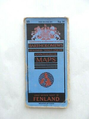 Vintage Bartholomew's Half Inch Contoured Map on Cloth #25 Fenland