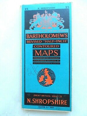 Vintage Bartholomew's Half Inch Contoured Map on Cloth #23 North Shropshire VGC