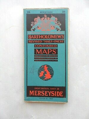 Vintage Bartholomew's Half Inch Contoured Map on Cloth #28 Merseyside VGC