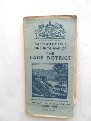 Vintage Bartholomew's One Inch Map on Cloth The Lake District
