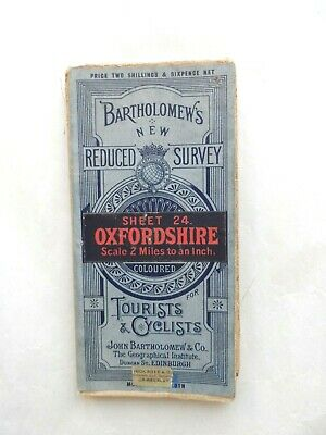 Vintage Bartholomew's Reduced Survey Map on Cloth Oxfordshire