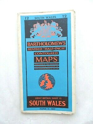 Vintage Bartholomew's Half Inch Contoured Map on Paper #12 South Wales