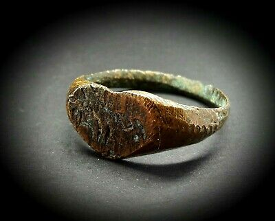 ANCIENT BRONZE HEART SHAPED ISLAMIC BLESSING - LOVE RING 12th to 14th A.D.