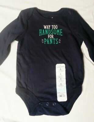 NWT Boy's Bodysuit 3m Handsome Cotton Blue One Piece Jumping Beans