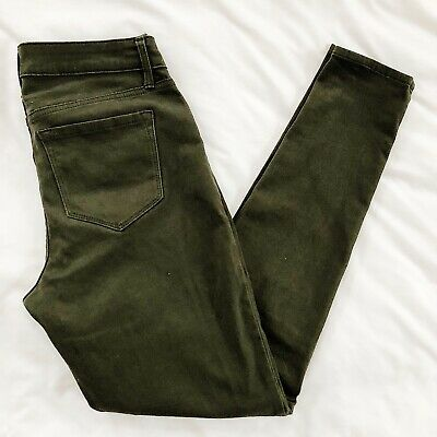 Old Navy Rockstar Mid Rise Stretch Womens Jeans Olive Green Skinny Sz 2