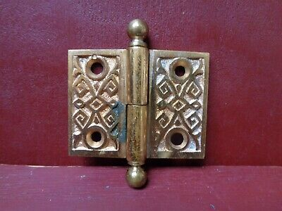 "1 Antique Cast Bronze 1 1/2"" X 2"" Shutter Cabinet Door Lift Off Hinges R Hand #1"