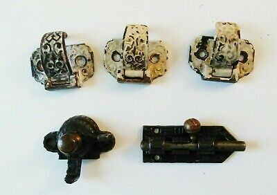 Old Antique Cast Iron Cabinet Cupboard Door Handle window Latch Mix LOT