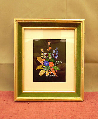 Beautiful Miniature Floral Oil Painting on Board - Signed W. S. Page