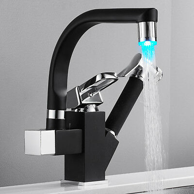 Black LED Kitchen Sink Mixer Taps 360° Swivel Spout with Pull Out Spray Head Tap