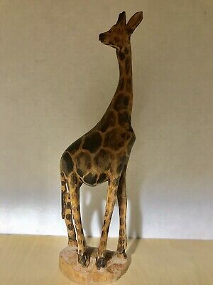 """Hand Carved Wood Giraffe  14"""" Tall Carving"""