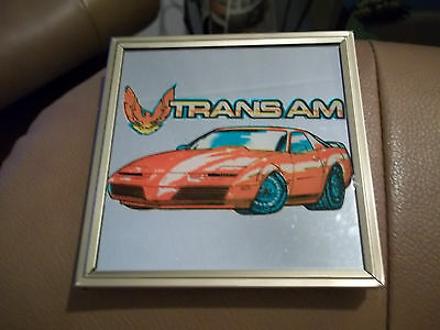 """New! 1970's Pontiac Trans Am Red Car Framed Wall Decor Art Mirror 4"""" x4"""" Picture"""