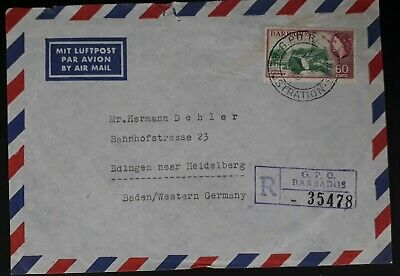 1960 Barbados Registered Airmail Cover ties 60c stamp to Germany