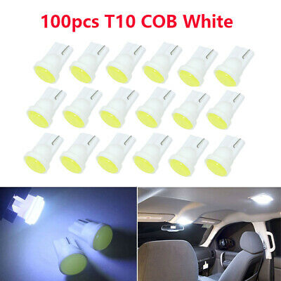 100x T10 194 W5W LED 1 COB White Car Wedge Indoor Dome lamp side light bulbs 12V
