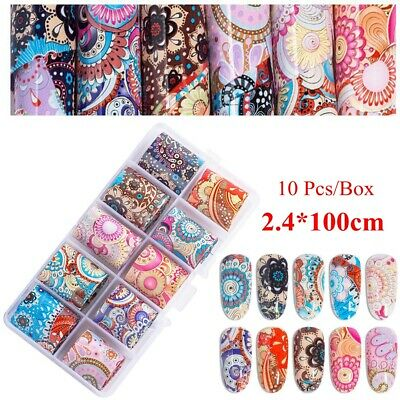 Holographic 3D Decor Nail Foil Nail Transfer Sticker Colorful Flower Nail Decal