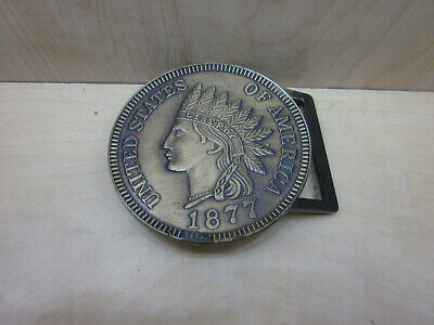 Vintage Liberty Indian Coin Belt Buckle