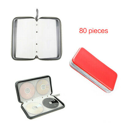 Red 80 CD DVD Carry Case Disc Storage Holder CD Sleeve Wallet Ideal for In Car