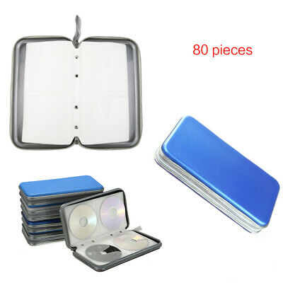 Blue 80 CD DVD Carry Case Disc Storage Holder CD Sleeve Wallet Ideal for In Car
