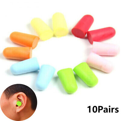 10Pairs/20Pcs Soft Foam Ear Plugs Tapered Travel Sleep Noise Prevention Earplugs