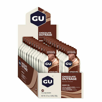 GU ENERGY GELS - Chocolate Outrage, 24 Pack Box
