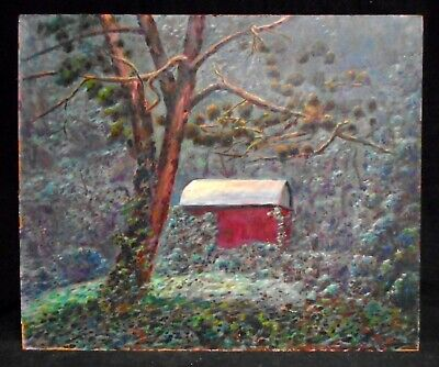 1970's Era Oil Painting Landscape Red Shed New Hope School B. Ungerleider