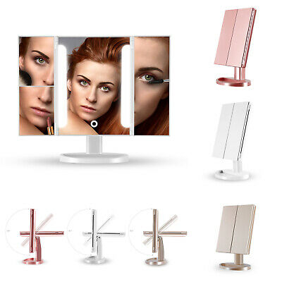 2 3 10x Tri-Fold Magnifying Vanity Makeup Mirror with Led Light Portable Travel
