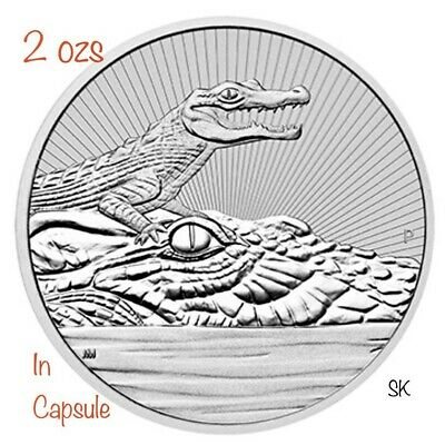 2019 Mother & Baby Crocodile 2 oz Piedfort Silver Coin