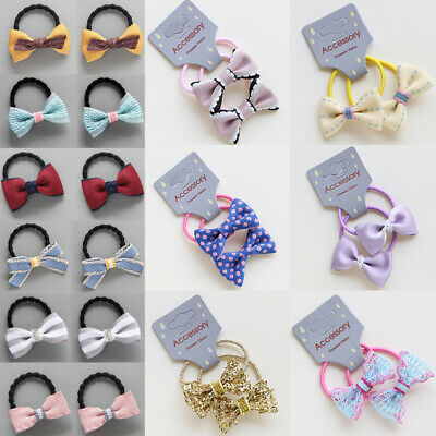 Baby Girls Hair Tie Ring Rope Ponytail Holder with Bow Bowknot Accessories 2PCS