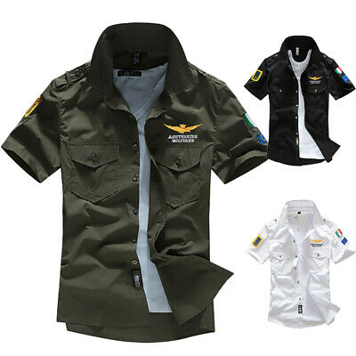 New Fashion Men's Army Military Casual Shirt Short Sleeve Military Style Shirts