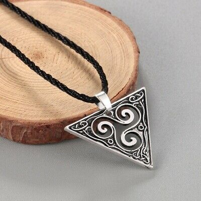 Celtic Spiral Triskele Triangle Necklace Geometric Pendant Viking Vintage Jewelr