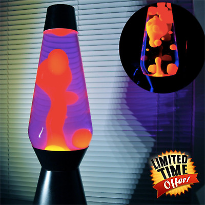 Classic Lava Lamp Original Motion Night Light 14.5 Inch Yellow Wax Purple Liquid