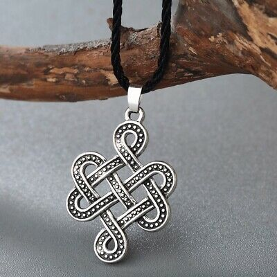 Celtic Knot Necklace Irish Antique Silver Pendant Eternity Infinity Knot Jewelry