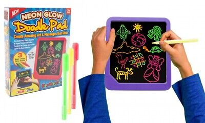 PMS Neon Doodle Wipe Pad Light Up Board Drawing Writing Creative Kids Toy