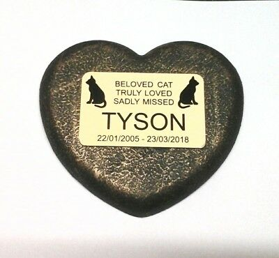 Cat Large Pet Memorial/headstone/stone/grave marker/memorial heart with plaque 2