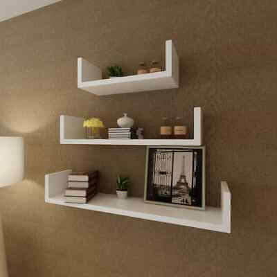 Set of 3 U-Shape Floating Wall Shelves Hanging  Storage Book Shelf Home Decor