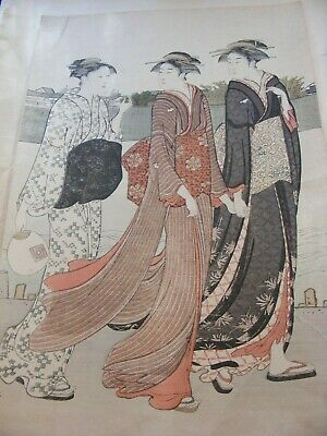 Antique Japanese Woodblock Print Original Signed