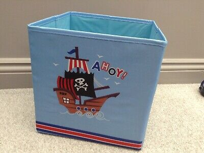 """NEW Boys Blue Pirate Ship """"Ahoy"""" Collapsible Tidy Toy Storage Bedroom Box Store"""
