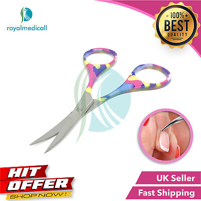 New Pro Classic Super Sharp Curved Edge Cuticle Nail Scissor Fancy Silver Steel