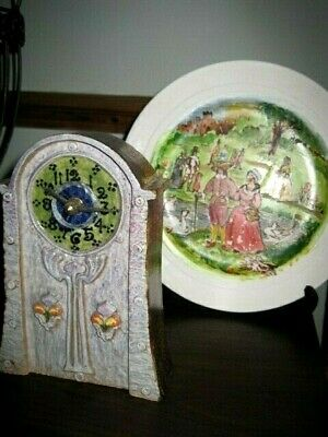Retro/ ceramic clock and ornamental plate