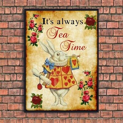 Alice In Wonderland Print Picture Vintage Style Gloss A4 Unframed Time For Tea