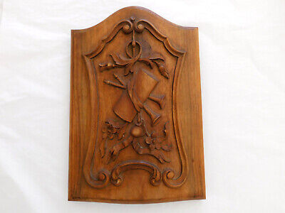 Antique French Hand Carved Walnut Panel from Provencal Flour Cupboard