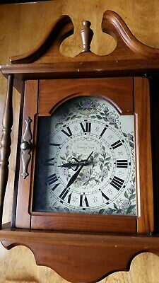 """Vintage New England Wooden Colonial Wall Clock """"Country Time"""""""