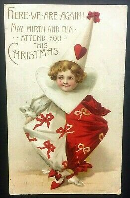 Edwardian Christmas Postcard Boy Clown Outfit Cute Embossed c.1911