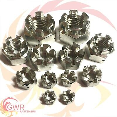 5mm 6mm 8mm 10mm 12mm 16mm CASTLE NUTS - A2 Stainless Steel Slotted Nut DIN 935