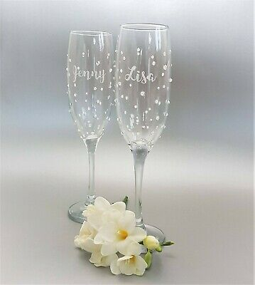 Personalised Champagne Flute, Prosecco Glass with white pearls
