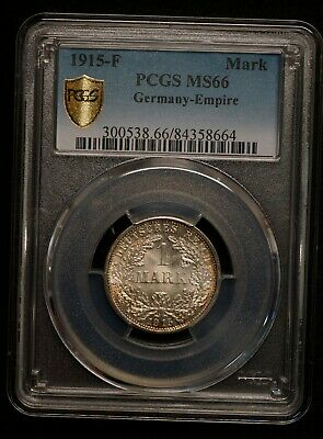 Germany 1915-F Mark PCGS Graded MS66 GEM Uncirculated World Silver Coin