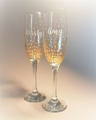 Personalised Champagne Flute, Prosecco Glass with gold dots