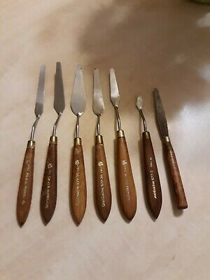 GRUMBACHER .VINTAGE USED PAINTING-PALETTE KNIVES..7 pc. SET ITALY
