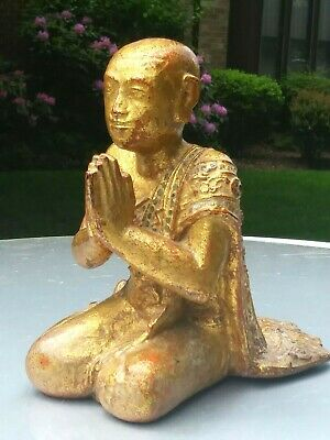 Vintage Thailand gilt & polychrome  hand carving  statue seated Buddihst Monk
